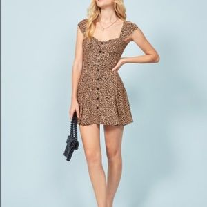 reformation cheri cheetah leopard mini dress